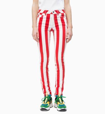 Pantalones-Skinny-a-Rayas-de-Tiro-Medio