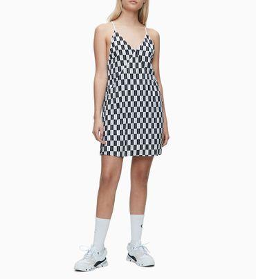 Vestido-Lencero-Con-Logo-De-Tablero-De-Ajedrez-Calvin-Klein