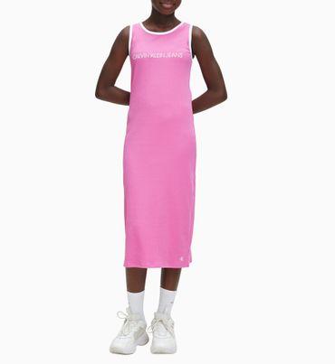 Vestido-de-canale-con-tirantes-ajuste-entallado-y-logo-Calvin-Klein