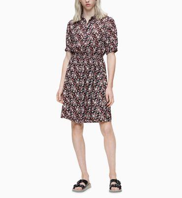 Vestido-camisero-de-crepe-floral-Calvin-Klein