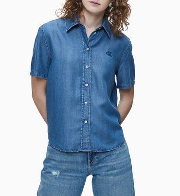 Camisa-de-Mezclilla-con-Logo-Bordado-Calvin-Klein