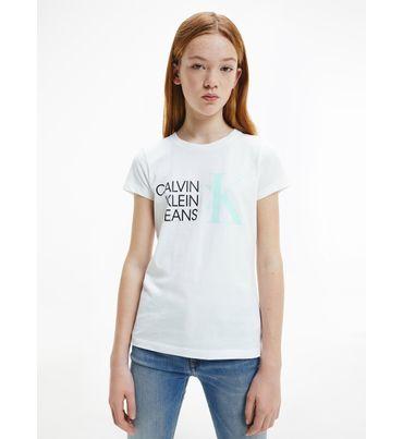 Playera-slim-de-algodon-organico-con-logo-para-niña-Calvin-Klein