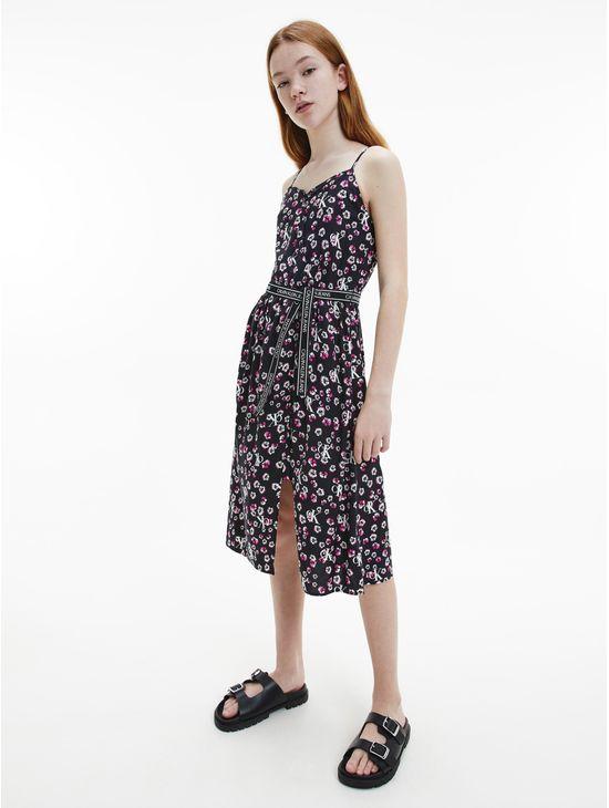 Vestido-midi-evase-floral-para-niña-Calvin-Klein