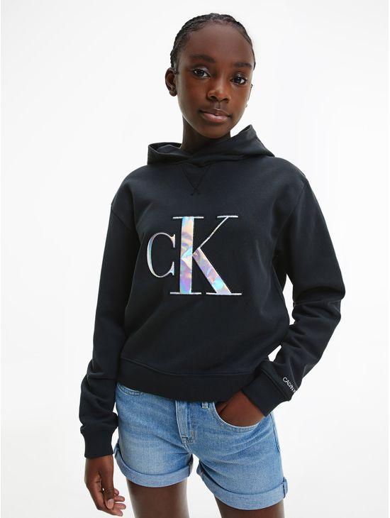 Sudadera-de-algodon-organico-con-gorro-y-logo-holografico-para-niña-Calvin-Klein