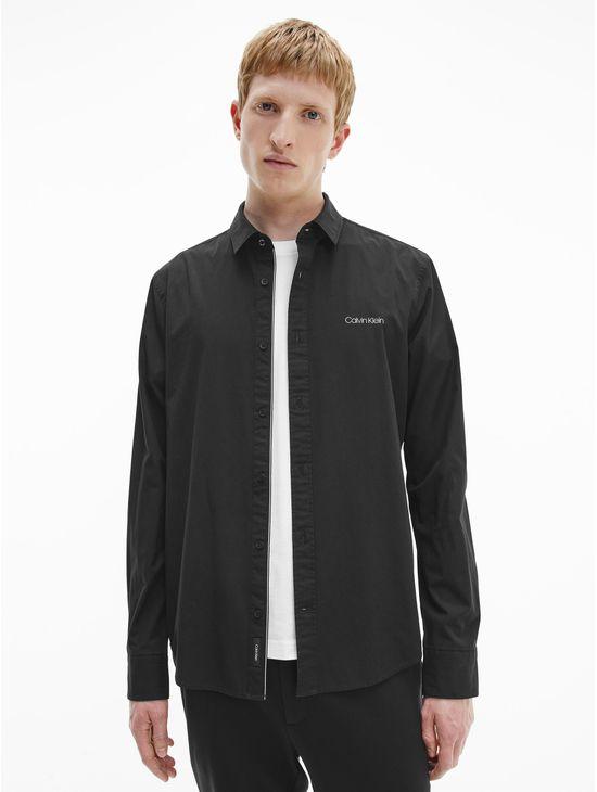 Camisa-slim-de-algodon-con-logo-Calvin-Klein